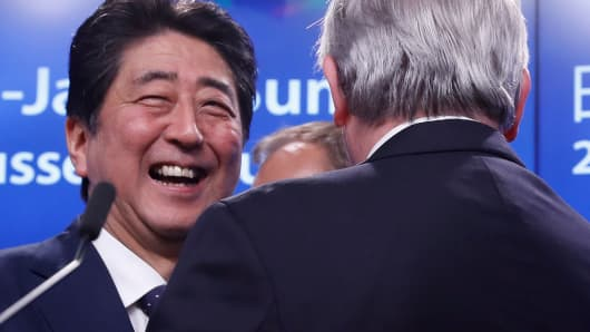 Japanese Prime Minister Shinzo Abe in Brussels on July 6, 2017.