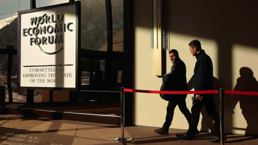People walking in the lobby of the Congress Center ahead of the World Economic Forum in Davos, Switzerland last January.