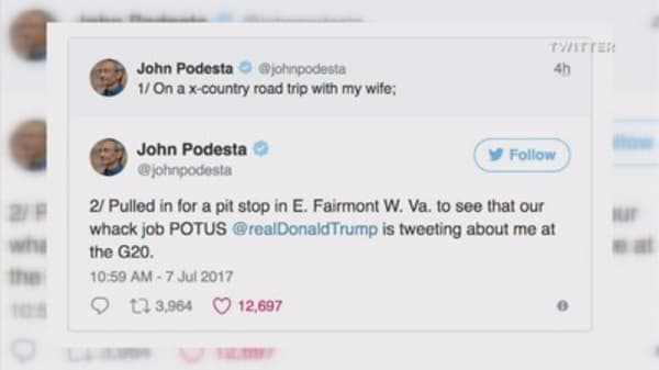 'Whack job': Twitter war breaks out between Trump and ex-Clinton campaign aide John Podesta