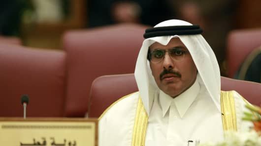 Qatar's central bank governor Sheikh Abdullah bin Saud al-Thani attends a meeting with other Gulf Cooperation Council (GCC) central bank chiefs in Kuwait City on March 24, 2010. GCC central bank chiefs are meeting to discuss progress towards regional monetary union.