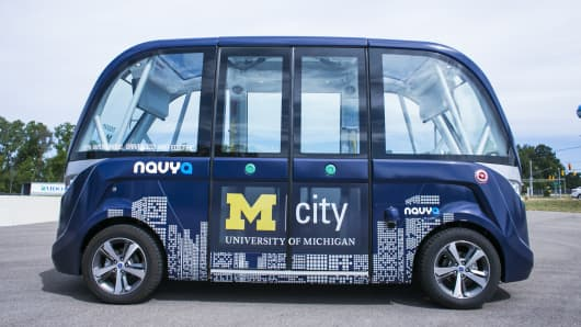 An autonomous shuttle bus at the MCity testing grounds at the University of Michigan in Ann Arbor, Mich., July 6, 2017.