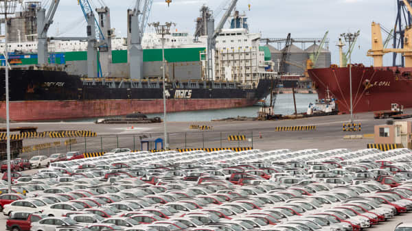 Vehicles stand in a lot before export at the Port of Veracruz in Veracruz, Mexico.