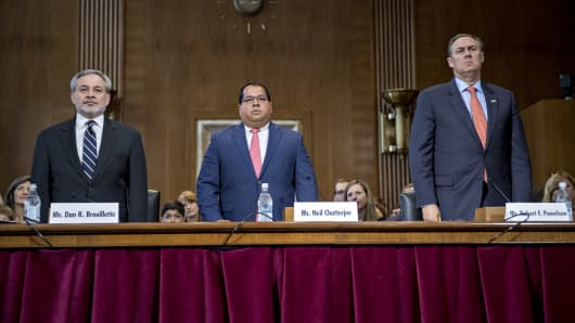 Dan Brouillette, deputy secretary of energy nominee for U.S. President Donald Trump, from left, Neil Chatterjee and Robert Powelson, nominees to be a members of the Federal