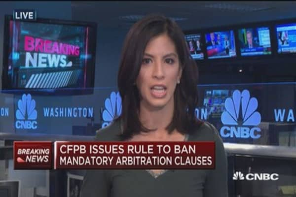 CFPB bans arbitration clauses to allow group class action lawsuits against companies