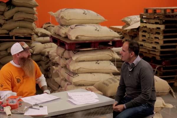 Steve Sims, owner of Bodhi Coffee, talks with Marcus Lemonis.