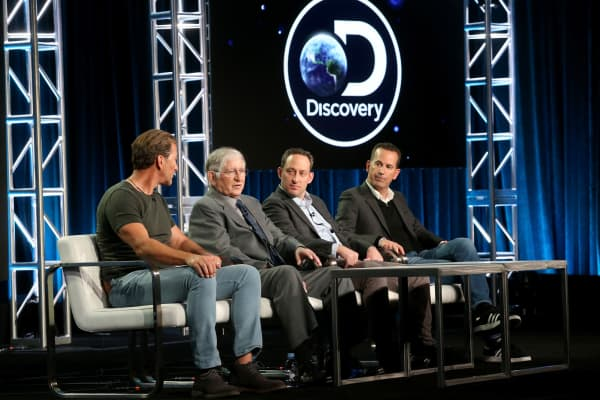 Darrell Miklos, Jerry Roberts and executive producers Ari Mark and Darryl Frank of the docuseries 'Cooper's Treasure' speak onstage during the Discovery Channel portion of the 2017 Winter Television Critics Association Press Tour.