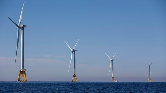 The Block Island Wind Farm, pictured above, began commercial operations at the end of 2016.