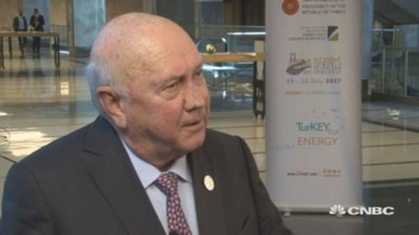 S Africa constitution protects land security, home ownership: de Klerk