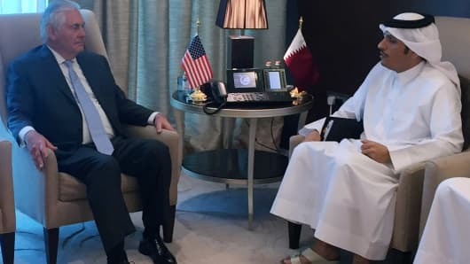 U.S. Secretary of State Rex Tillerson meets with Qatar's foreign minister, Sheikh Mohammed bin Abdulrahman al-Thani, in Doha, Qatar, July 11, 2017.
