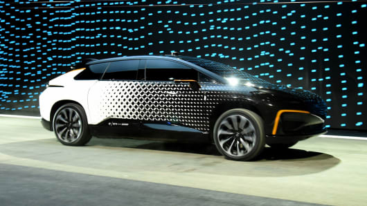 Faraday Future's FF 91 prototype electric crossover vehicle is shown at a press event for CES 2017 at The Pavilions at Las Vegas Market on January 3, 2017 in Las Vegas.