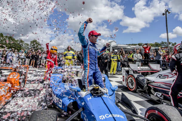 Scott Dixon celebrates in victory lane after winning the Verizon IndyCar Series Kohler Grand Prix at Road America on June 25, 2017 in Elkhart Lake, Wisconsin.