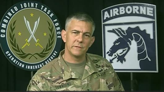 Lt. Gen. Stephen Townsend, the commander fo the U.S.-led coalition to fight ISIS, briefing reporters on Tuesday via teleconference from Baghdad.