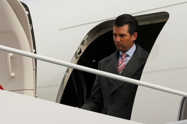 Donald Trump Jr. arrives ahead of the inauguration with his father aboard a U.S. Air Force jet at Joint Base Andrews, Maryland, U.S. January 19, 2017.