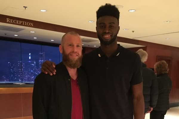 Graham Betchart with the Boston Celtics' Jaylen Brown