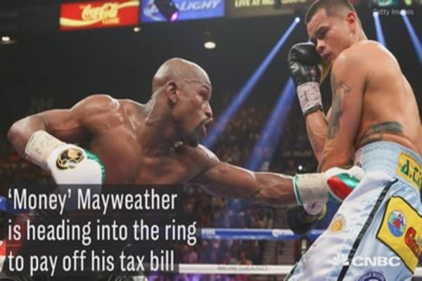 Mayweather is heading into the ring to pay off his tax debt