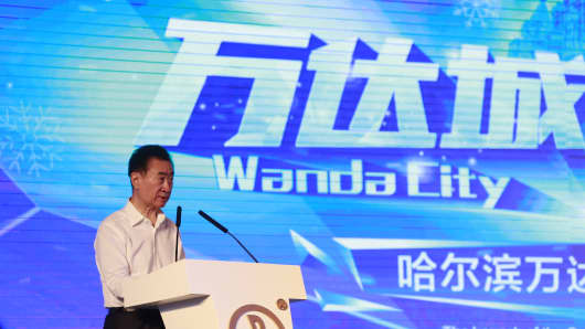 Wanda Group's chairman Wang Jianlin makes speech during the launch ceremony of Harbin Wanda City on June 30, 2017 in Harbin, Heilongjiang Province of China.