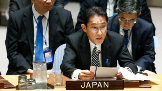 Japanese Foreign Minister Fumio Kishida speaks to members of the security council during a United Nations meeting on April 28, 2017 in New York City.
