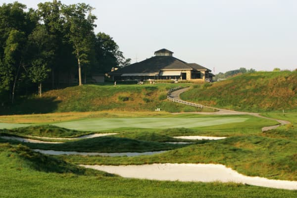 The clubhouse at The Wolf Run Golf Club in Zionsville