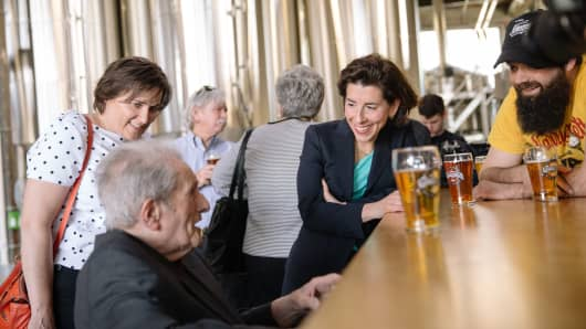 Governor Gina Raimondo visits Isle Brewers Guild, where they recently started brewing Narragansett Beer in Rhode Island for the first time in 30 years.