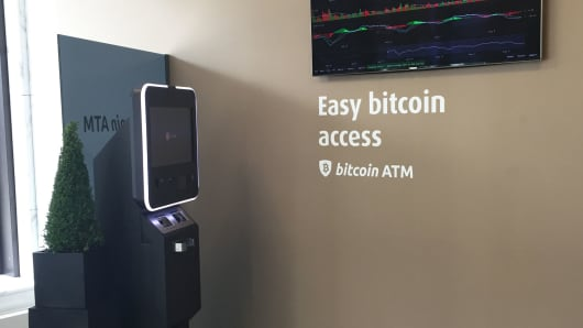 A Bitcoin ATM in the lobby of Falcon Private Bank's headquarters in Zurich, Switzerland.