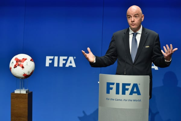 FIFA President Gianni Infantino speaking at a press conference.