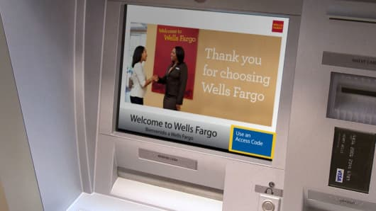 "A Wells Fargo ATM featuring the ""Use an Access Code"" button."