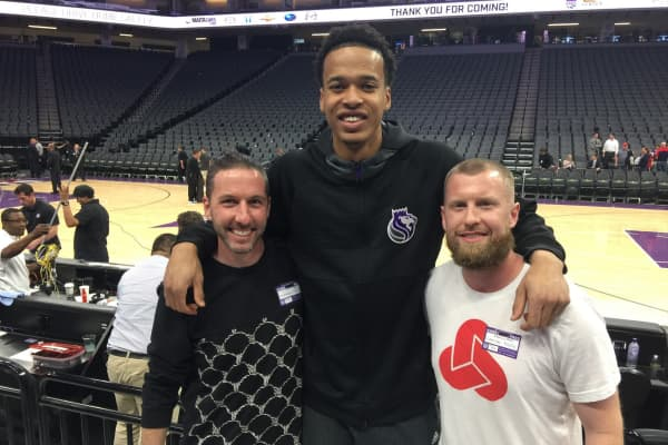 Lucid Performance CEO Jason Stirman, Skal Labissière of the Sacramento Kings, and Lucid Performance Director of Mental Training Graham Betchart (from left to right)