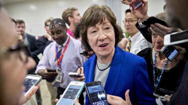 Sen. Susan Collins, a Republican from Maine, speaks to members of the media in the basement of the U.S. Capitol in Washington, D.C.