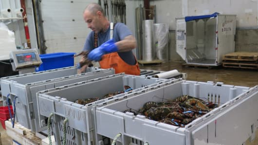 An employee weighs the day's catch at Maine Coast distributor in York, Maine.