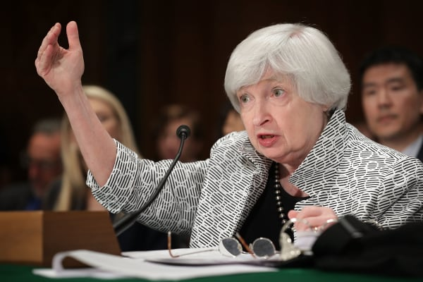 Federal Reserve Board Chairwoman Janet Yellen testifies before the Senate Banking, Houseing and Urban Affairs Committee in the Dirksen Senate Office Building on Capitol Hill July 13, 2017 in Washington, DC.