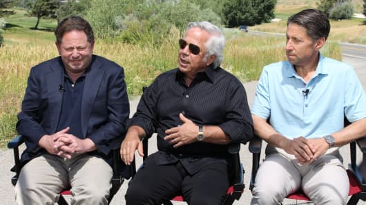 Bobby Kotick, Robert Kraft and Jeff Wilpon at the Sun Valley Conference on July 12, 2017.