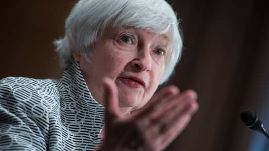 Fed Chair Janet Yellen testifies before a Senate Banking, Housing and Urban Affairs Committee.
