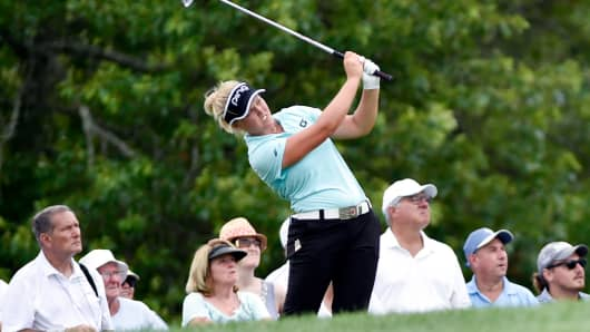 Brooke Henderson tees off on the seventh hole during the first round of the U.S. Women's Open golf tournament at Trump National Golf Club in Bedminster, N.J.