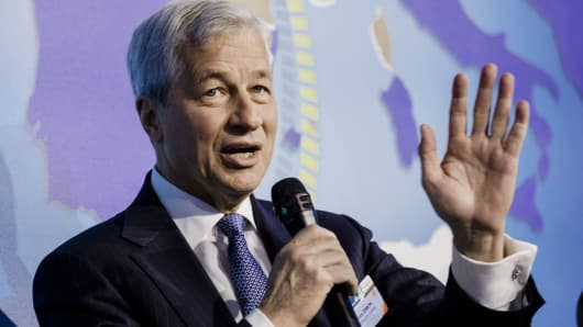 JP Morgan edges lower as dip in trading revenues outweighs earnings beat