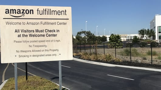 An Amazon fulfillment center in Tracy, California