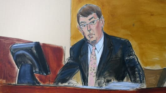 A drawing of Steven Aselage, CEO Retrophin at the trial of Martin Shkreli in Brooklyn, New York.