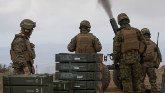 A file photo of US Marine Corps during the US-JAPAN military exercise outside the USMC base in Pendleton, California.
