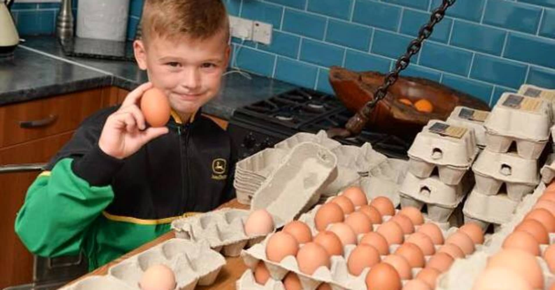 Eight-year-old Junior-James Wyatt founded his own egg delivery business.