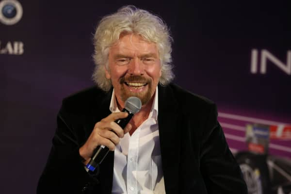 Sir Richard Branson speaking at the Innovation Summit in Brooklyn, New York on July 14, 2017.