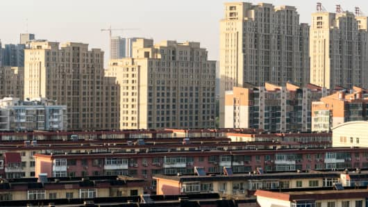 A overlooking view of residential buildings in Tongzhou District in Beijing, China.
