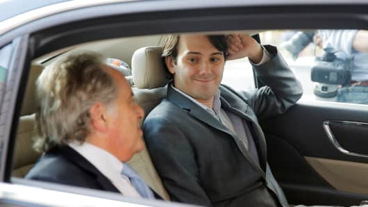 Martin Shkreli, former chief executive officer of Turing Pharmaceuticals departs with his attorney Benjamin Brafman after a hearing at U.S. Federal Court in Brooklyn, New York, June 26, 2017.