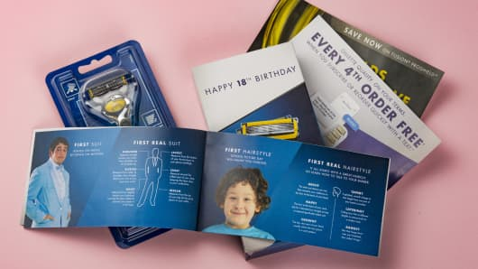 "Gillette's ""happy birthday"" kit, in New York, July 14, 2017. A marketing effort to get free razors in the hands of young men for their 18th birthdays has sometimes reached the wrong target."