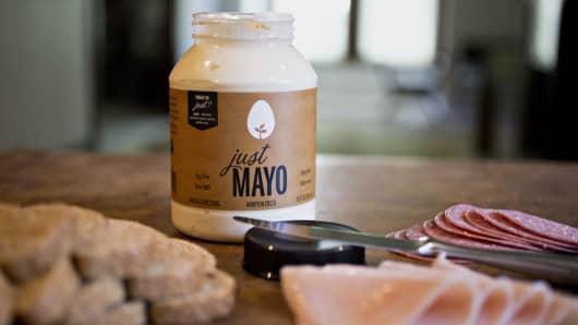 A jar of Hampton Creek Inc. Just Mayo brand egg-less mayonnaise.