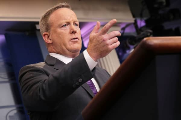 White House Press Secretary Sean Spicer speaks to reporters during an off-camera briefing in the Brady Press Briefing Room at the White House July 17, 2017 in Washington, DC.