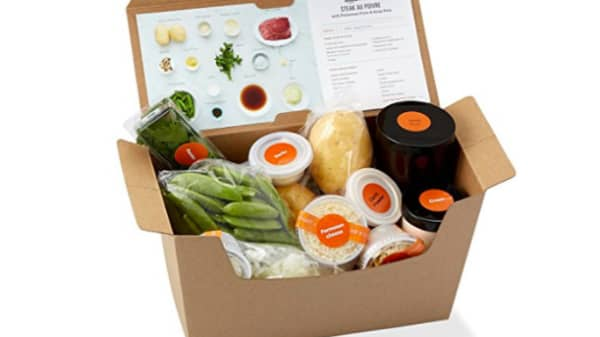 The ingredients inside an Amazon Meal Kit.