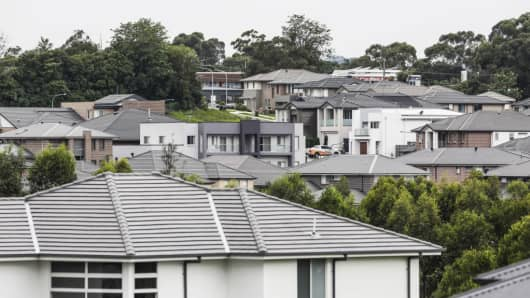 Newly constructed houses stand in the suburb of Kellyville in Sydney, Australia, on Thursday, March 30, 2017.
