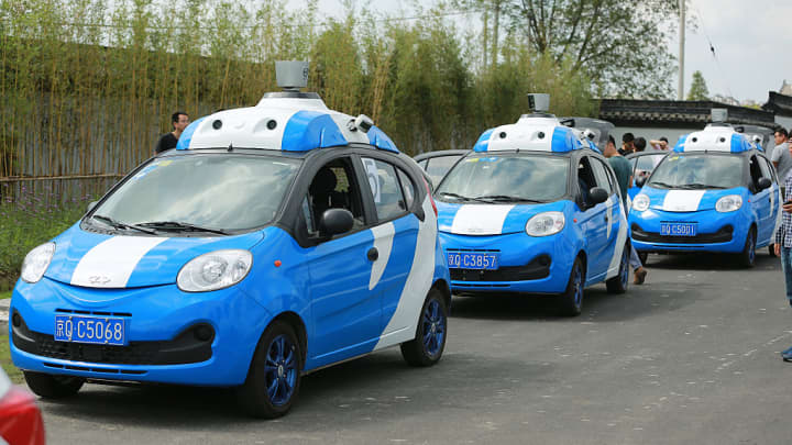 Baidu driverless cars in test run during the 3rd World Internet Conference (WIC) on November 17, 2016 in Jiaxing, Zhejiang Province of China.
