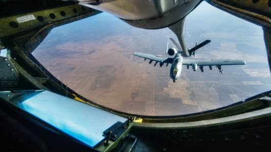 A-10 Thunderbolt, also known as the Warthog, refuels from a KC-135 Stratotanker over Iraq, last year in support of operation to defeat the Islamic State terrorist group.