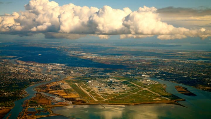 An aerial view of Vancouver International Airport.