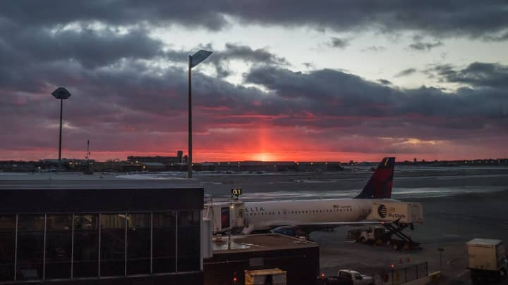A sunset view from the tarmac of the Minneapolis-St. Paul airport.
